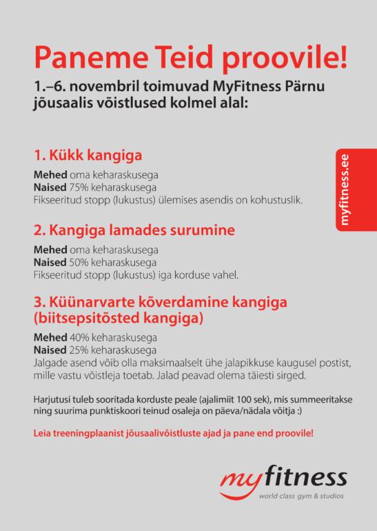 MyFitness Pärnu Jõusaal võistlused