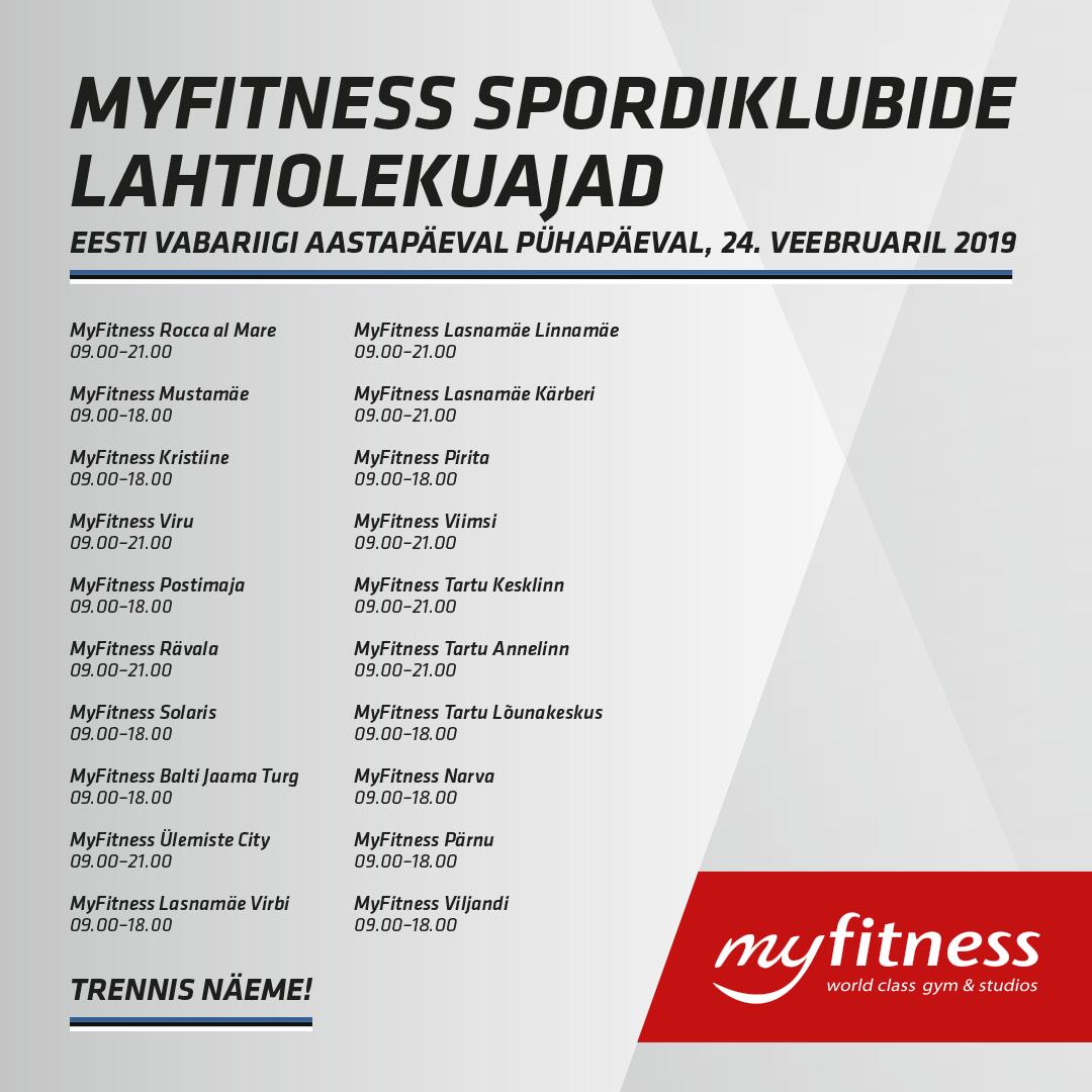 96a930b0835 MyFitness spordiklubide lahtiolekuajad Eesti Vabariigi aastapäeval ...